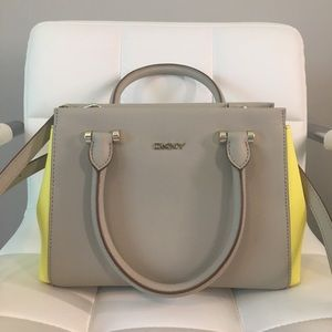 DKNY Top Handle Satchell Yellow and Beige